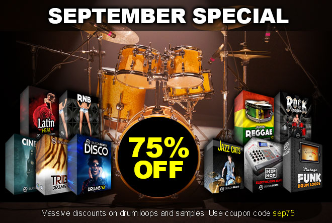 Drum loops and Srum Samples in the September Sale